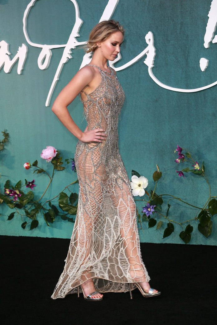 Jennifer Lawrence Wears a Sheer Atelier Versace Dress to the London Premiere of Mother! | InStyle.com