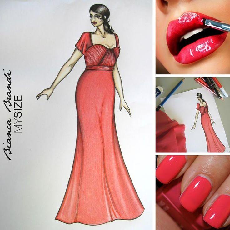 #WorkInProgress... Piccola #preview per voi #collezione 2016... Pensato per una damigella... Un abito lungo in chiffon color corallo con corpino drappeggiato a mano. #BiancaBrandiMySize #curvy #plussize #curves #curvygirl #Happycurvytoyou #abitodeisogni #abitodacerimonia #abitodasera #abitococktail #abitieleganti #pink