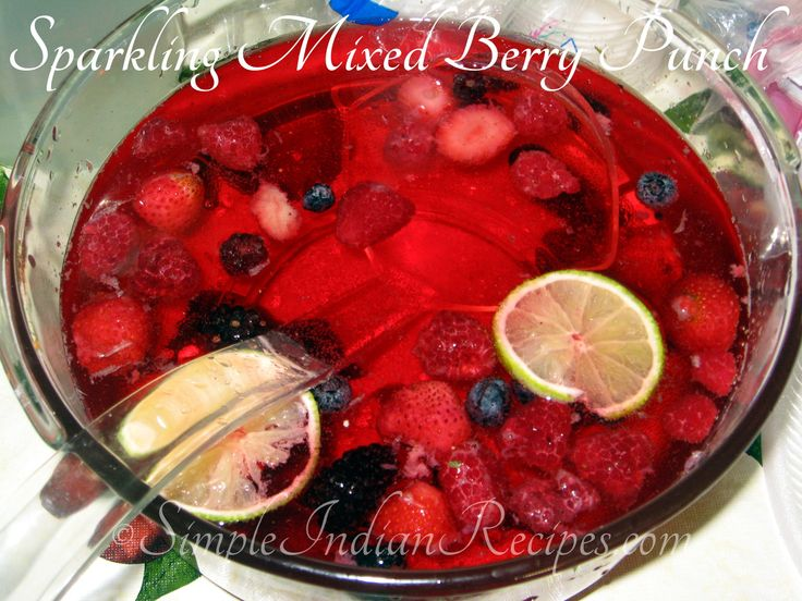 Sparkling Berry Punch:  An non-alcoholic drink for parties. This sparkling punch with mixed berries is very quick and easy to prepare. It's a crowd pleaser too. Try the recipe @ http://simpleindianrecipes.com/berrypunch.aspx