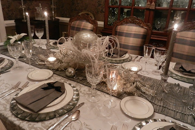 New years eve tablescape using lenox opal innocence for Table 6 lenox
