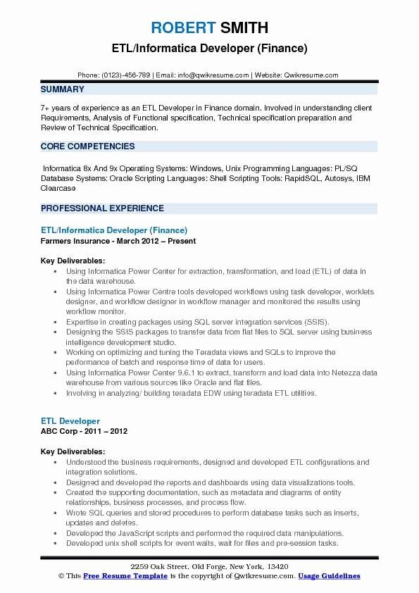 Entry Level Sql Developer Resume Awesome Etl Informatica Developer Resume Samples
