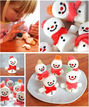 Christmas snowman marshmallow treats tutorial for The Snowman and the snow dog. Candy hats and red  liquorice scarves! https://happythought.co.uk/craft/tutorials/snowman-and-the-snowdog#