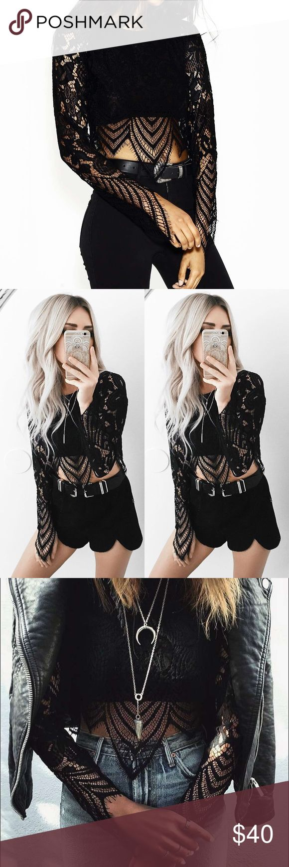 Wrstbhvr worst behavior black lace crop top shirt Perfect condition, new with tags.  Not from Lulus Lulu's Tops Crop Tops