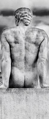 Male Nude, marble statue near the Eiffel Tower, Paris.