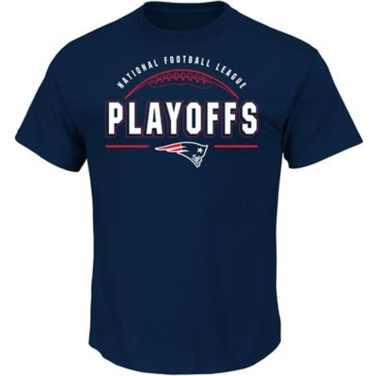 NFL Men's New England Patriots Playoffs Short Sleeve Tee, Size: Medium, Blue