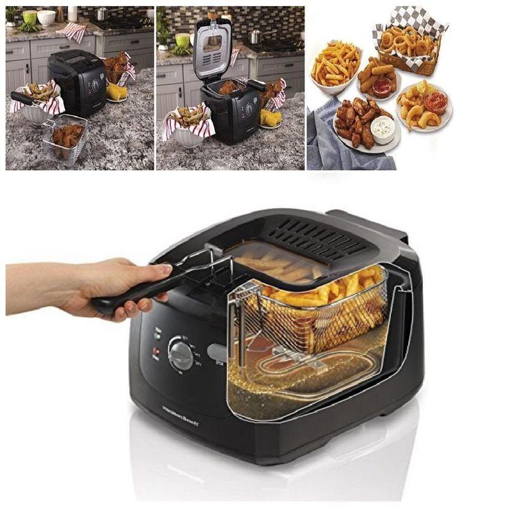 Kitchen Electric Deep Fryer Fry Cooker Cook Chicken French Fries Food Basket Pot #HamiltonBeach