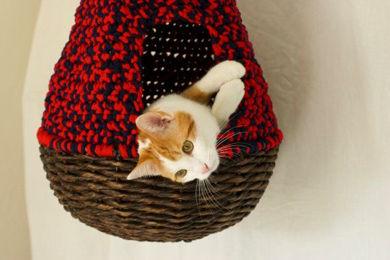Hanging Cat Nest Bright Red and Navy Blue by TuckerAndCompany