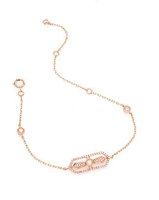 CR by Casa Reale 14 K White Diamond Horizantal Filagree Cross Chain Bracelet.