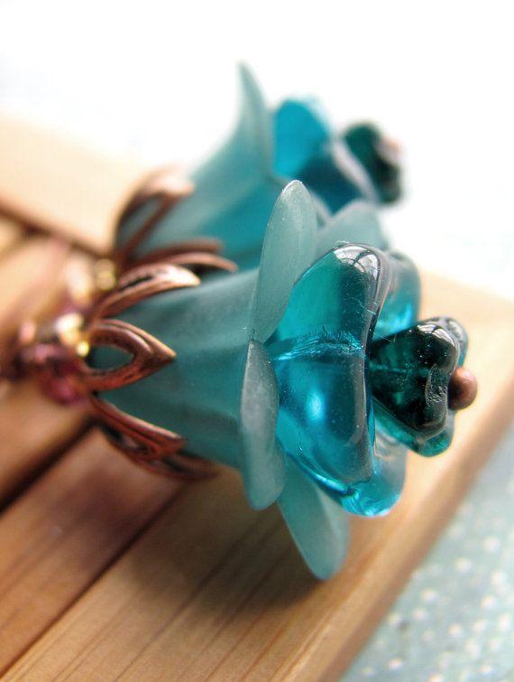 Teal Aqua Flower Earrings Antiqued Copper Vintage by ShySiren, $26.00