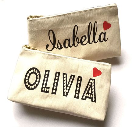 From make up to everyday must haves you'll fall in love with this personalized canvas bag.