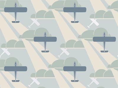 Retro Art Deco Wallpapers   Sky Blue Aeroplane   Bradbury & Bradbury