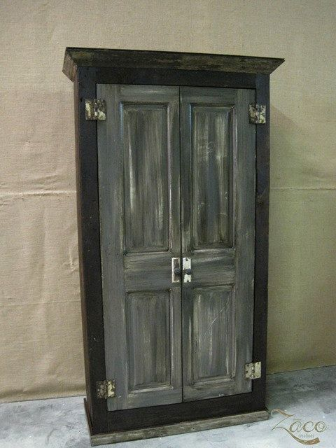 Storage Armoire Cabinet Wardrobe Built With Reclaimed Wood And Doors Shown In Graphite Gray