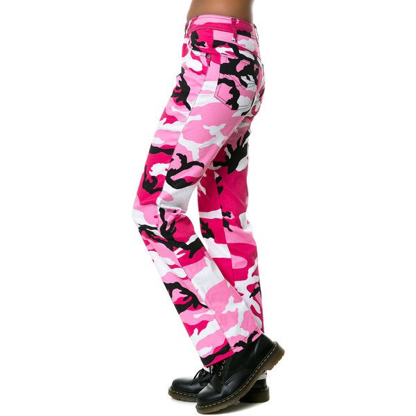 Rothco The Camouflage Stretch Flare Pants in Pink ($29) ❤ liked on Polyvore featuring pants, flare leg pants, flare pants, stretch pants, pink camouflage pants and flared trousers