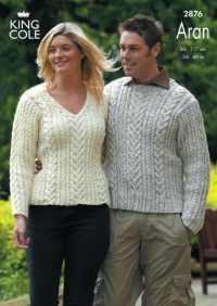 King Cole Fashion Aran Knitting Pattern 2876