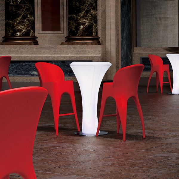 Petalo Outdoor Illuminated Bar Table. With its interchangeable and remote controlled LED light inside, you can take it anywhere you want. No electrical cables, no mess, no fuss.