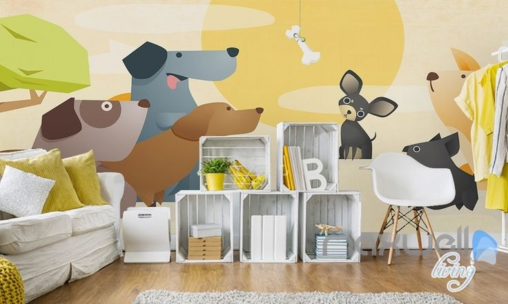 Cartoon pet dog meat bones sunrise entire kids room wallpaper wall mural decal Art Print IDCQW-000071