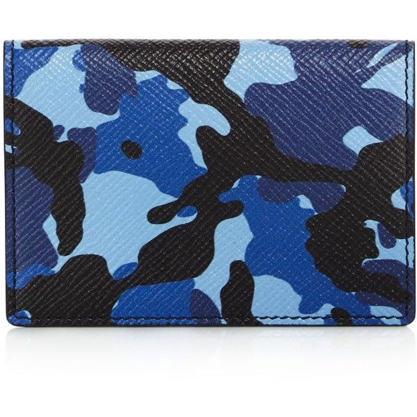 Smythson Panama Leather Vertical Card Case (12.610 RUB) ❤ liked on Polyvore featuring men's fashion, men's bags, men's wallets, blue camouflage, mens blue leather wallet, mens leather wallets, mens card holder wallet, mens card case wallet and mens leather credit card holder wallet