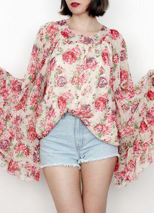 Kup mój przedmiot na #vintedpl http://www.vinted.pl/damska-odziez/tuniki/13978742-3-za-2-kwiatowa-tunika-z-szerokimi-rekawami-wyciecie-na-plecach