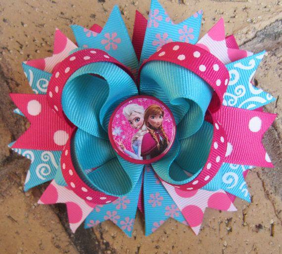 Disney Frozen Princess Anna Elsa Custom Boutique Hair Bow for Disney World Vacation