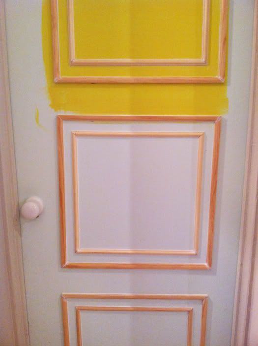 Adding nested molding to a basic flat door hollow core door and painting in a pop color