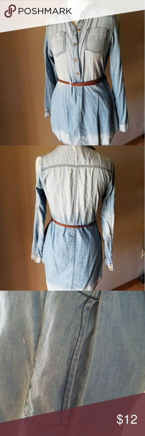 Denim Long Sleeve Shirt Size Medium EUC Denim Long Sleeve Shirt Size Medium, can be worn with a belt.  Pair with cute leggings. EUC Rue21 Tops