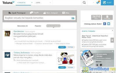 Menu komunitas pada dasbor akun paid survey Toluna Indonesia | SurveiDibayar.com