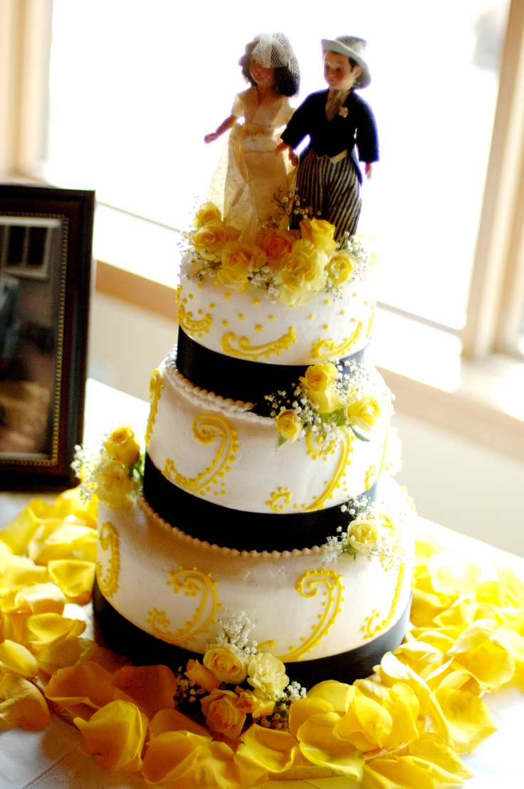 Yellow Black And White Wedding Cake