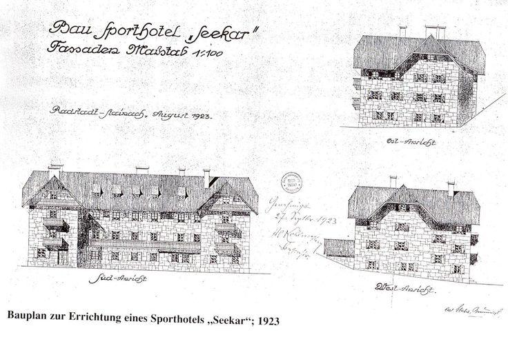 Bauplan zur Errichtung eines Sporthotels Seekar im Jahr 1923.