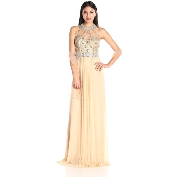 JVN by Jovani Women's Sheer Neckline Chiffon Dress ($289) ❤ liked on Polyvore featuring dresses, beige prom dresses, sheer dress, prom dresses, see through prom dress and full length beaded dress