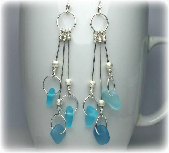 Sea Glass Earrings Sterling Silver Drop Earrings Bridesmaid