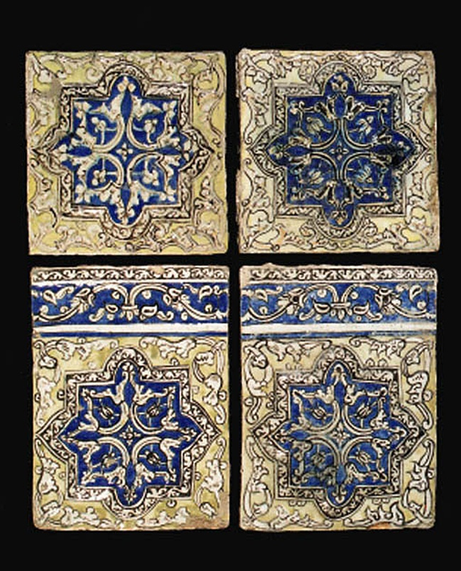 A GROUP OF QAJAR POTTERY MOULDED FRIEZE TILES TEHERAN, NORTH PERSIA, LATE 19TH CENTURY