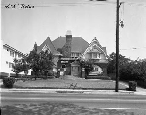 Fitzgerald House, 3115 W. Adams Boulevard. (HCM #258), in an Italian Gothic style built in 1903 and designed by Joseph Cather Newsom. Photo is dated August 22, 1965. Source: CSUN Digital Library, Tom & Ethel Bradley Center Photographs. *See comments below for a contemporary photo and a few interior shots. The two-story Italian Gothic/Queen Anne-style home was built for James T. Fitzgerald, a wealthy piano store owner, and his wife in 1906. The 6,665-square-foot brick and stone residence…