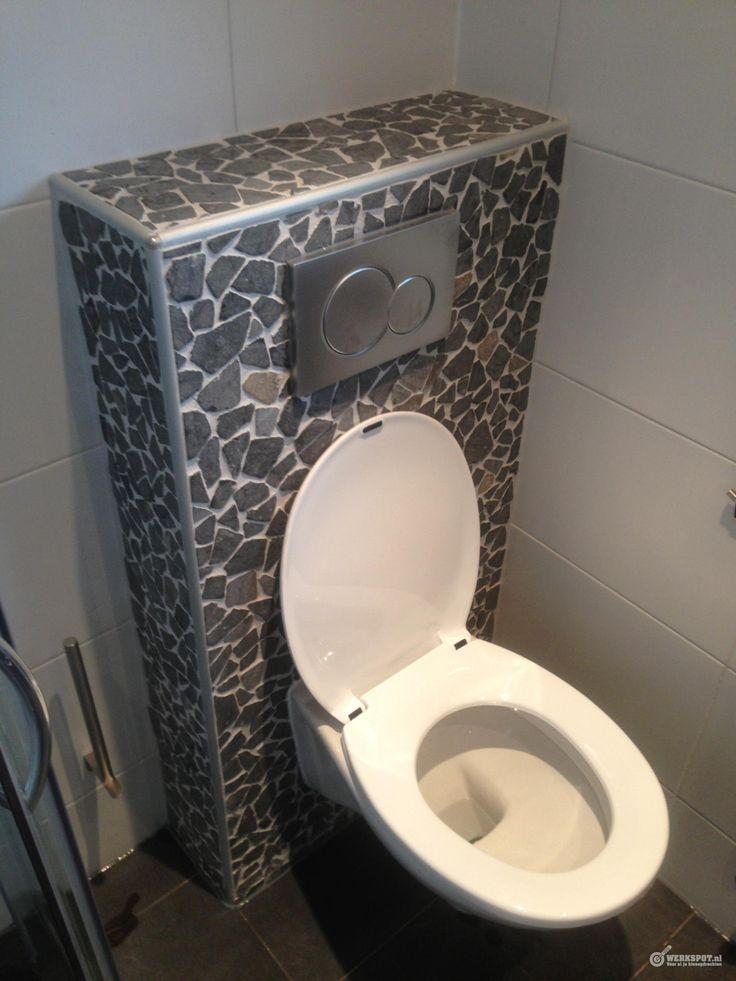 Onze inbouw toilet met natuursteen matjes sanitair pinterest toilets and met - Toilet tegel ...