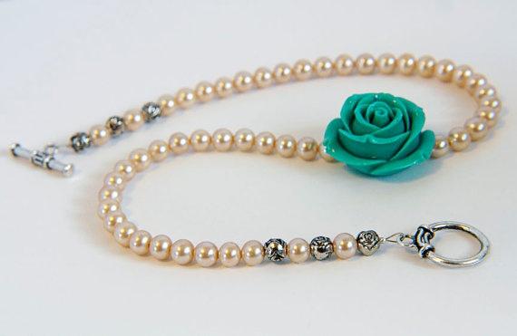 Pearl and teal rose choker