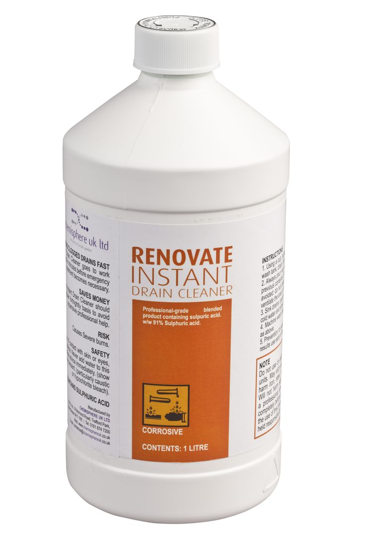 Renovate instant drain cleaner is a fast acting and professional grade product, containing sulphuric acid. Dissolves grease, rags, soap, paper towels and organic matter in minutes to clear blockages and save you money on expensive plumbing bills! Alternatively, use it as part of your routine drain maintenance once or twice a fortnight to help prevent any blockages. Typical applications include; blocked drains, sinks, urinals, glasswasher waste and dishwasher waste!