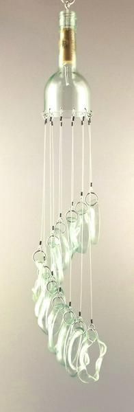 """6 x 24"""". Created using rings of slumped glass, this mobile will sounds as beautiful as it looks! This one-of-a-kind glass art is made from a glass wine bottle"""
