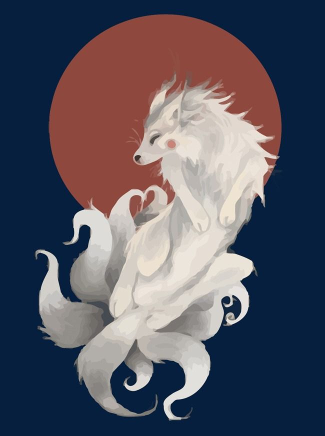 Vector Nine Tailed Fox Hand Painted Demon Fox Nine Tail Fox Png And Vector Nine Tailed Fox Naruto Fox Art Nine Tailed Fox