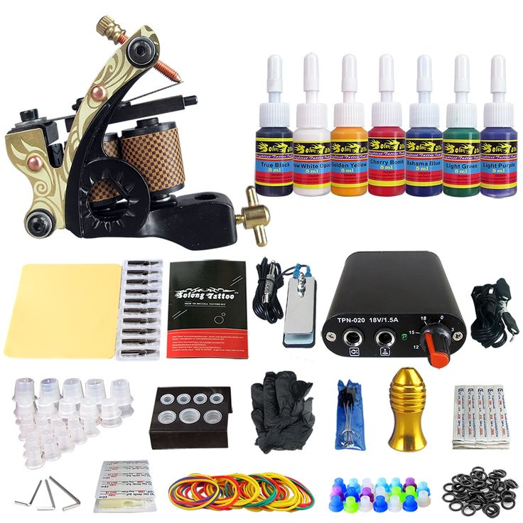 (61.40$)  Watch now  - Solong Tattoo Complete Tattoo Kit 1pc Coil Tattoo Machine Guns with 7Pcs  Inks Power Supply Foot Pedal Switch Needle Grips Tips