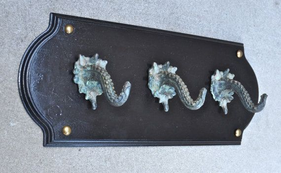 Bronze Kraken Coat Hook Plaque