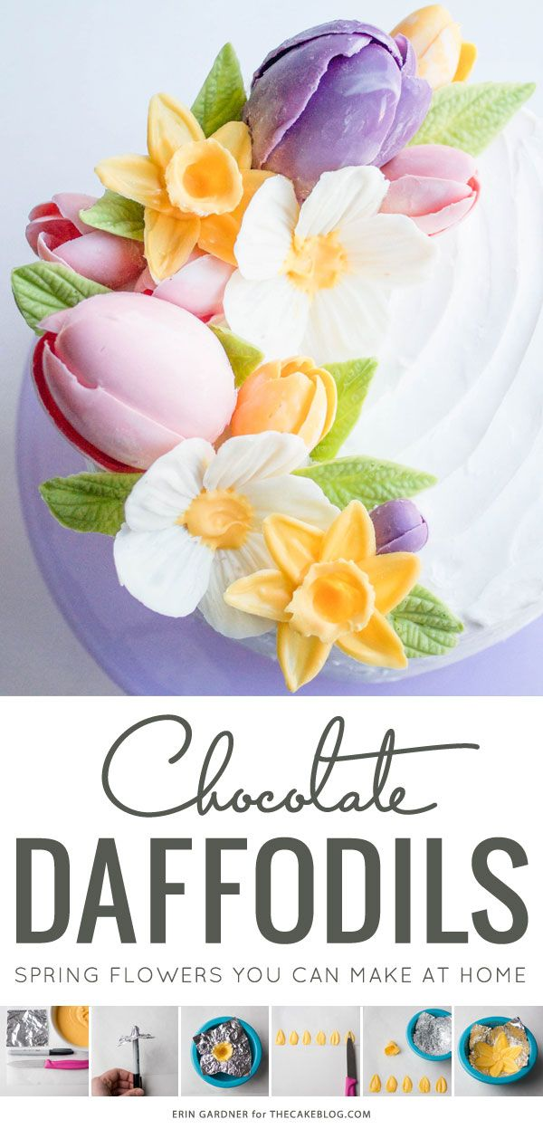 DIY Chocolate Daffodils | impressive yet surprisingly simple addition to your Spring and Easter cakes | by Erin Gardner for TheCakeBlog.com