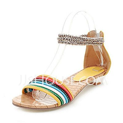 Sandals - $23.99 - Leatherette Low Heel Sandals With Beading (087014122) http://jjshouse.com/Leatherette-Low-Heel-Sandals-With-Beading-087014122-g14122?no_banner=1_source=facebook_medium=banner_content=post130705_11_campaign=6006815706479
