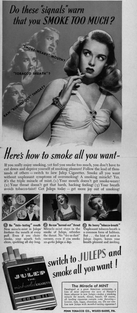 The symptoms of smoking too much.  An early ad of warning signs really proves to be ahead of it's time by advocating....WAIT...DA FUQ!?  NOOOOOooooooooooo!