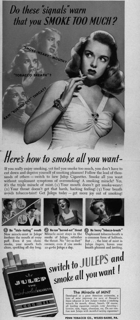 The symptoms of smoking too much.  An early ad of warning signs really proves to be ahead of it's time by advocating....WAIT...DA FUQ!?  NOOOOOooooooooooo!