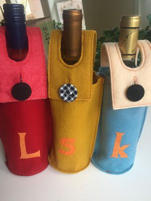 Felt, appliquéd Wine Bottle Sleeves _ Running with Rocket