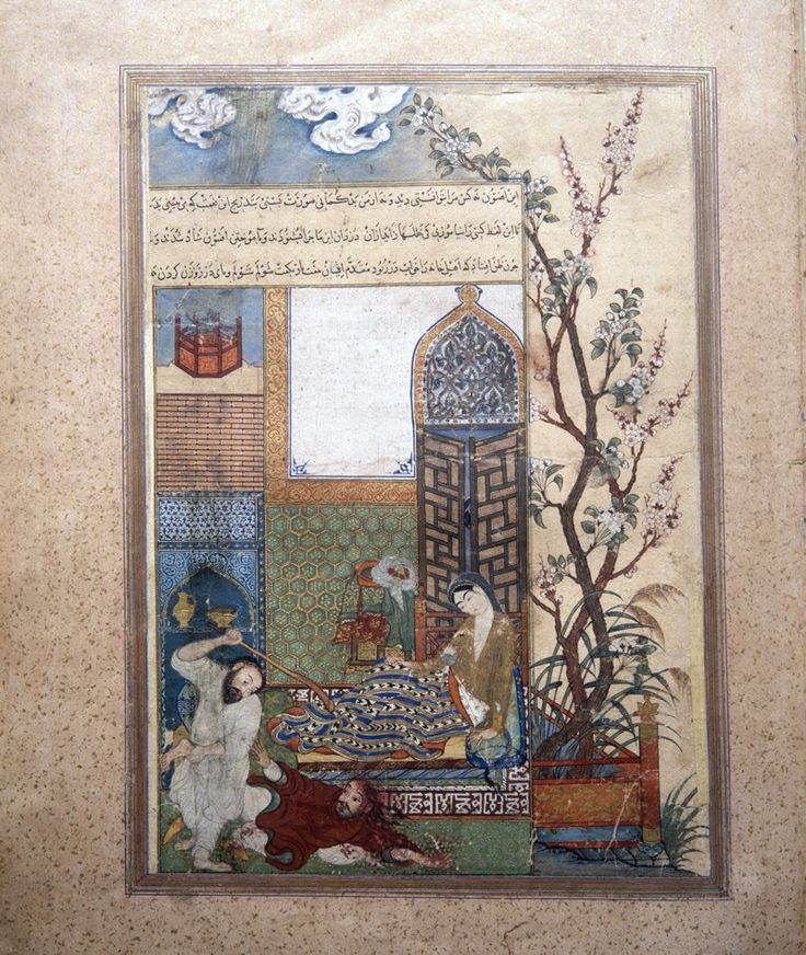 KALILA WA DEMNA in Persian. Figure 1. The thief is beaten in the bedroom. Naṣr-Allāh, Kalila o Demna. Ink, colors, and gold on paper. Jalayerid, ca. 1370–74. Fragment preserved in the Shah Tahmasp Album, Istanbul University Library, MS pers. F. 1422, fol. 24a. After O'Kane, 2003, pl. 4.– Encyclopaedia Iranica