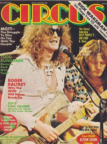 Mott the Hoople on the cover of Circus magazine June, 1974. I loved Circus magazine. They had a lot of Bowie & Bolan articles:) All the young dudes!