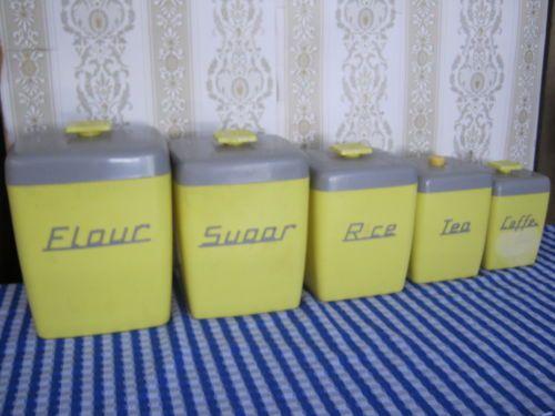 Retro Vintage Nally Ware Canister Set Qty 5, Grey U0026 Yellow, 1950/60u0027s