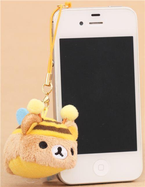 round Rilakkuma brown bear as bee mini plush charm by San-X