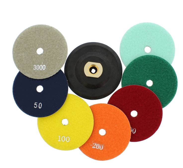 Diamond Polishing Pads with Buffer, Rubber Backer for Granite, Stone, Marble