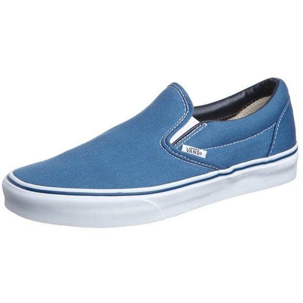 Vans CLASSIC SLIPON Slipons navy ($74) ❤ liked on Polyvore featuring shoes, mens clothes, guys, men, blue, men's footwear, slip on shoes, vans shoes, flat slip on shoes and flat platform shoes